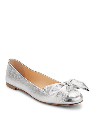 Metallic Leather Bow Flats