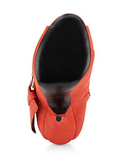 Leather Cutout-Heel Booties
