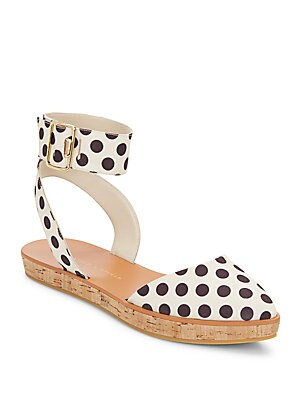 Reese Polka-Dot Canvas & Cork Sandals