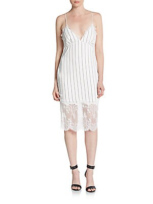 Esquire Lace-Trimmed Stripe Dress