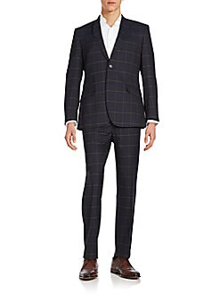 Regular-Fit Windowpane Wool Suit
