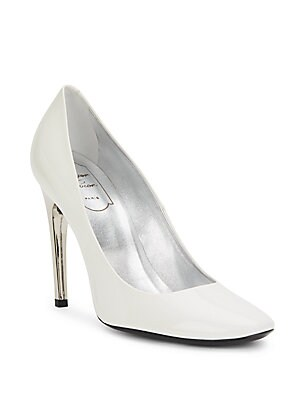 Sculpted Heel Leather Pumps