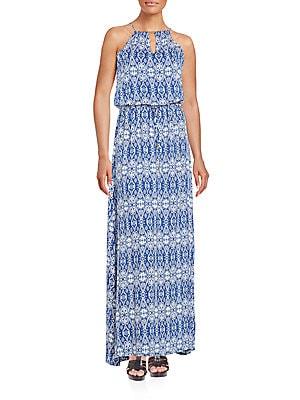 Grecian Print Maxi Dress