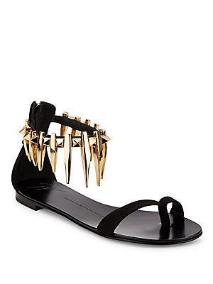 Rock 10 Spiked Suede Flat Sandals