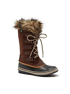 Joan Of Arctic Faux Fur-Trimmed Suede & Leather Lace-Up Boots