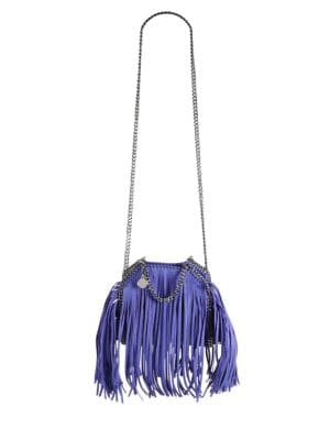 Tiny Bella Fringe Fold-Over Bucket Bag Stella McCartney