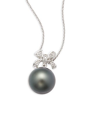 Click here for 11MM Black Tahitian Pearl  White Diamond & 14K Whi... prices