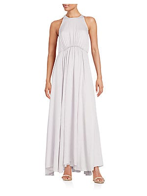 Gathered-Waist Silk Maxi Dress