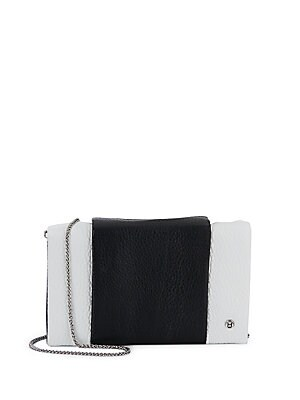 Colorblock Leather Chain Wallet