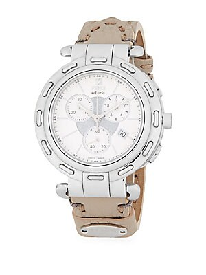 Mother-of-Pearl & Leather Chronograph Watch