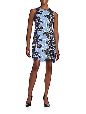 Colorblock Floral Lace Shift Dress