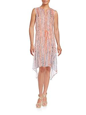 Printed Silk Chiffon Ruffle Dress