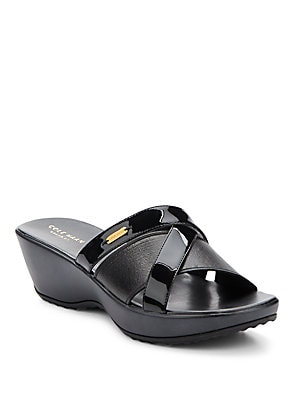 cole haan female margate patent leather wedge sandals