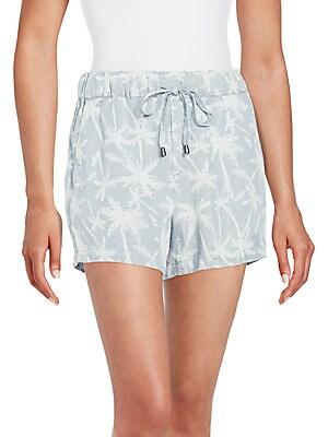 Pinstriped Palm Tree Drawstring Shorts
