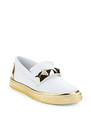 Leather Slip-On Platform Sneakers