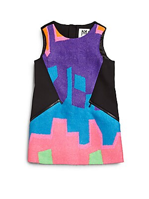 Little Girl's Neon Puzzle Jacquard Dress