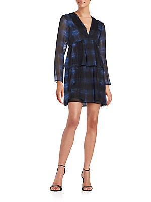 Lace-Trim Plaid Silk Dress