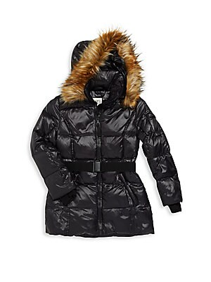 Girl's Quilted Hooded Parka