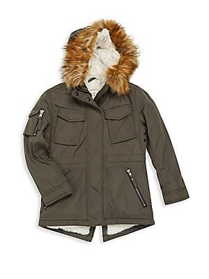 Girl's Faux Fur Trimmed Hooded Parka