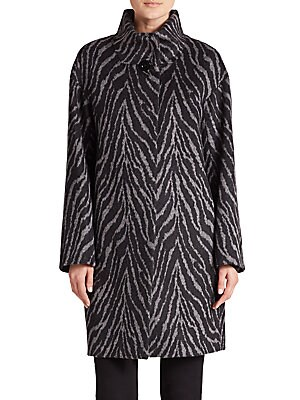 Printed Alpaca & Wool Coat