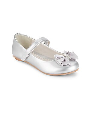 Girl's Embellished Bow-Detail Metallic Ankle-Strap Flats
