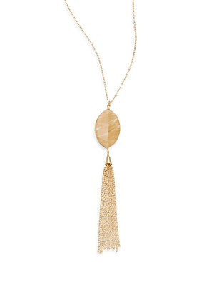 Agate Chain Tassel Pendant Necklace
