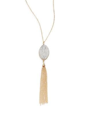 Agate Chain Tassel Pendant Necklace