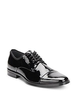 Klinton Faux Patent Leather Cap Toe Derby Shoes