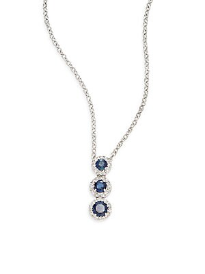 Sapphire, Diamond & 14K White Gold Triple-Halo Pendant Necklace