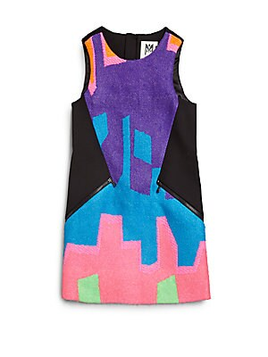 Girl's Neon Puzzle Jacquard Dress