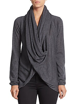 Draped Wool & Cashmere Wrap Sweater