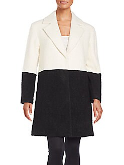 Shyla Two-Tone Bouclé Coat