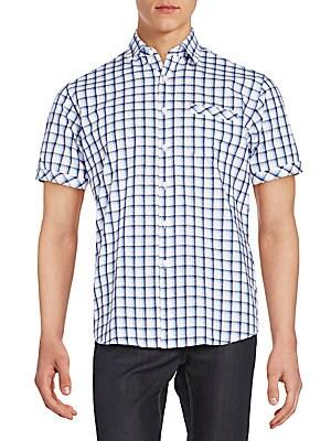 Regular-Fit Windowpane Check Cotton Sportshirt