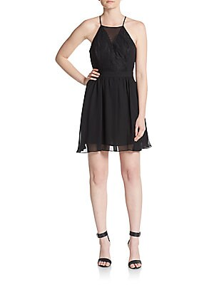Lace Inset Fit-And-Flare Dress