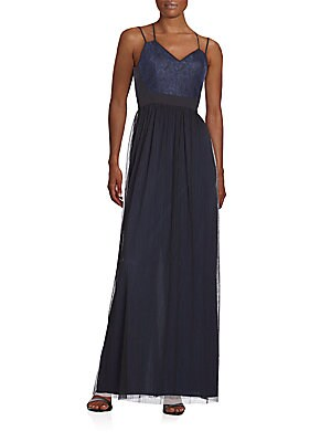 Brocade & Crinkle Chiffon Maxi Dress