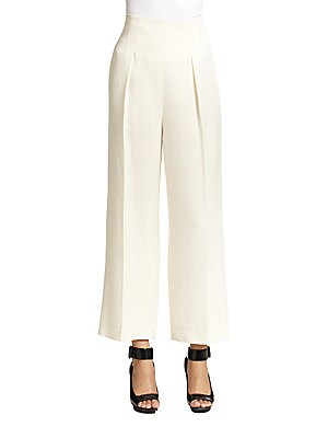 Cropped High-Waist Wide-Leg Trouser Pants