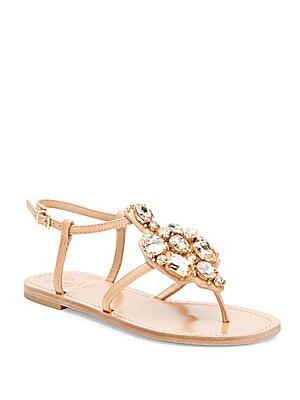 Seandro Jeweled Thong Sandals