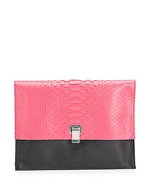 Snakeskin & Leather Colorblock Large Lunch Bag Clutch