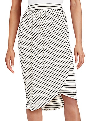 Striped Faux Wrap Skirt