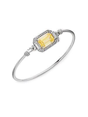 Avery Crystal & Sterling Silver Bangle Bracelet