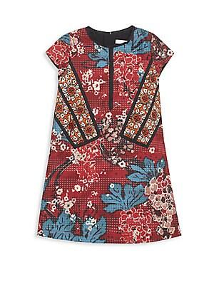 Girl's Floral-Print Patchwork Dress