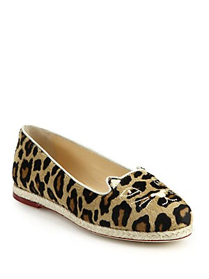 Capri Cat Leopard-Print Calf Hair Espadrille Flats