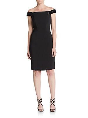 Beaded Crepe Off-The-Shoulder Sheath Dress