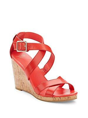 Jilliane Leather Wedge Sandals