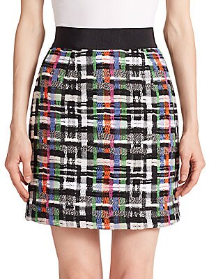 Zip-Back Tweed Skirt