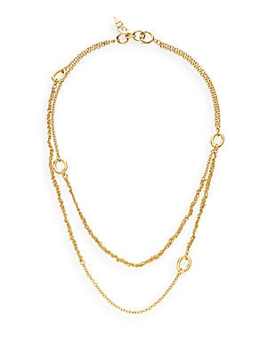 Metal Chain Links Woven Two-Row Necklace