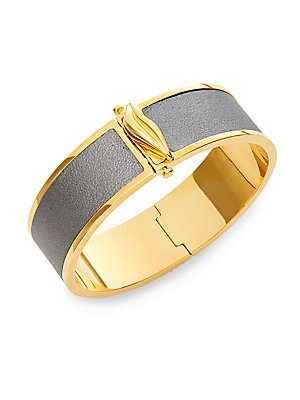 Holiday Color Two-Tone Leather Bangle Bracelet
