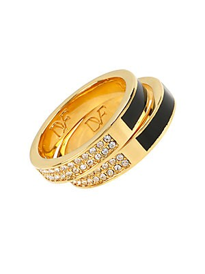 Goldtone Pave and Resin Ring Set