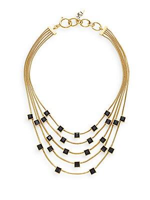 Cubism Swarovski Stone Multi-Row Necklace
