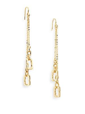 Metal Chain Links Linear Drop Earrings